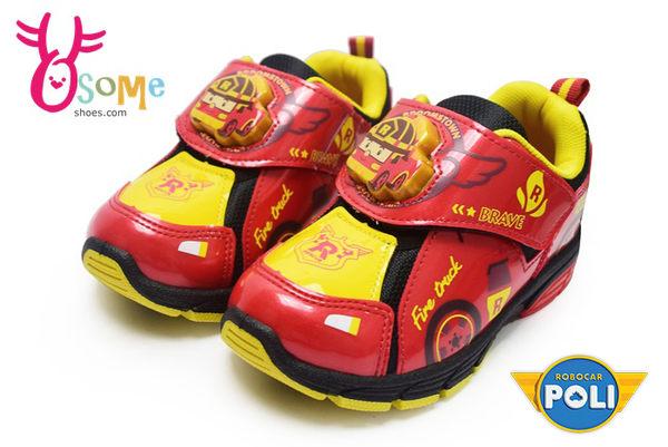 POLI 羅伊 運動鞋 電燈鞋 台灣製 透氣跑步鞋F8177#黑紅◆OSOME奧森童鞋/小朋友