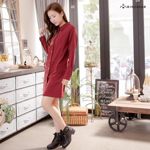質感洋裝--專業時尚感開襟素面襯衫領排釦連身長袖洋裝(黑.紅L-3L)-A183眼圈熊中大尺碼◎