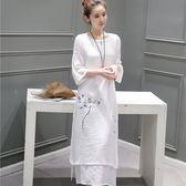 性感旗袍 女裝新款民族風寬松大碼棉麻印花茶服長裙子 GB666『優童屋』