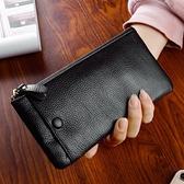 頭層牛皮新款長款女士錢包卡手機包軟皮超薄簡約錢夾拉鏈包男