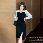 洋裝 拚色開叉連身裙-媚儷香檳-【FD0062】