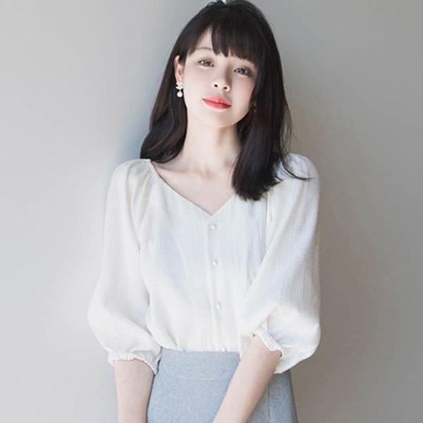 襯衫 襯衫女裝韓版設計感小眾V領白色氣質泡泡袖仙女雪紡衫上衣夏季女 霓裳細軟