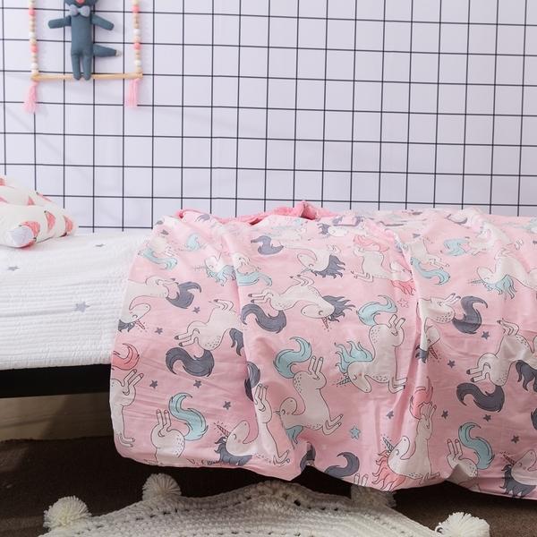 嬰兒 兒童 精梳棉 法蘭絨 水晶絨安撫毯(可入棉被)120x150cm【獨角獸】