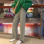 女裝韓版寬鬆百搭抽繩休閒褲高腰顯瘦闊腿褲運動褲直筒褲長褲 青木鋪子