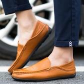 夏季新款簡約休閒鞋套腳男鞋正韓駕車男士休閒鞋半拖潮皮鞋子【快速出貨】