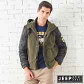 【JEEP】型男迷彩保暖休閒連帽外套 (橄欖綠)