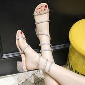水鑽蛇形繞帶涼鞋女夏粗跟中跟 一字帶羅馬蛇型綁帶高 街頭布衣