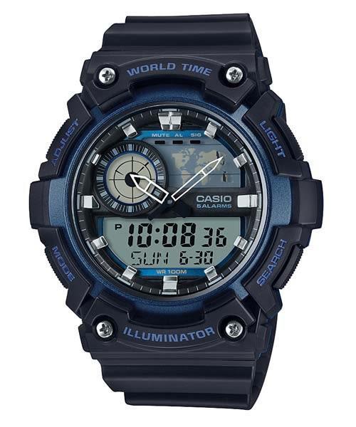 【時間光廊】CASIO 卡西歐 世界時間 黑藍 雙顯運動錶 全新原廠公司貨 AEQ-200W-2ADR