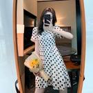 小洋裝 連身裙收腰顯瘦波點連身裙法式夏季裙子泡泡袖氣質公主裙女T624快時尚
