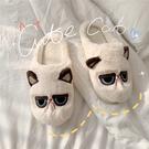 韓版可愛卡通呆萌貓咪棉拖鞋女冬室內居家用防滑毛絨鞋