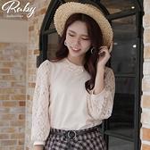 上衣 韓國直送‧蕾絲不對稱領七分袖上衣-Ruby s 露比午茶
