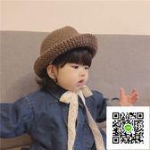 嬰兒保暖帽 ins爆款秋冬兒童針織毛線帽子韓國男女寶寶0-2歲保暖蕾絲繫帶盆帽 歐歐流行館