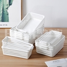 單入 小號款 桌面收納籃家用塑料零食玩具雜物收納盒浴室鏤空收納筐簡約整理籃
