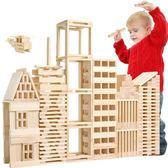 寶寶木制原木長條建筑3d立體堆搭積木塔兒童玩具3-6周歲飛機益智   全館免運   全館免運
