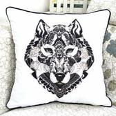 狼 時尚印花沙發靠枕 抱枕 腰枕 靠背墊