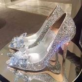 水晶新娘鞋婚鞋婚禮服伴娘中跟尖頭宴會婚紗高跟鞋水?單鞋女結婚【全館免運店鋪有優惠】