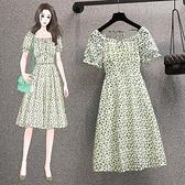 短袖洋裝 大碼洋裝胖mm大碼女裝時髦顯瘦法式碎花雪紡連身裙潮9508 4F082 胖妞身櫥