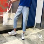 牛仔褲 - 文藝男女店褲子牛仔褲流修身百搭小腳褲男褲【韓衣舍】
