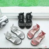 夏季新品兒童涼鞋女童寶寶鞋亮片水?可愛露趾涼鞋包跟羅馬鞋 全館免運
