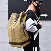 雙肩水桶圓桶背包帆布男ins大容量行李戶外旅行登山運動籃球書包