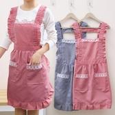 圍裙 時尚雙層防水鑚油圍裙廚房做飯圍腰錬愛公主罩衣家用女工作服【免運直出】