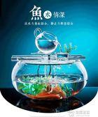 金魚缸桌面創意小型家用招財迷你客廳現代簡約圓形玻璃免換水魚缸 mks免運 生活主義