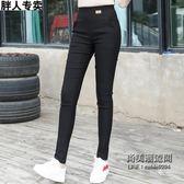 女士女褲高腰深檔大尺碼彈力顯瘦小腳長褲外穿打底褲肥婆
