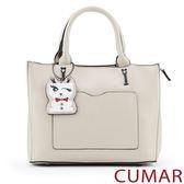 【CUMAR女包】俏皮小狗吊飾手提包-灰色