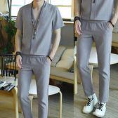 棉麻短袖套裝男夏季新款亞麻九分褲中國風帥氣潮流休閒兩件套滿699折89折
