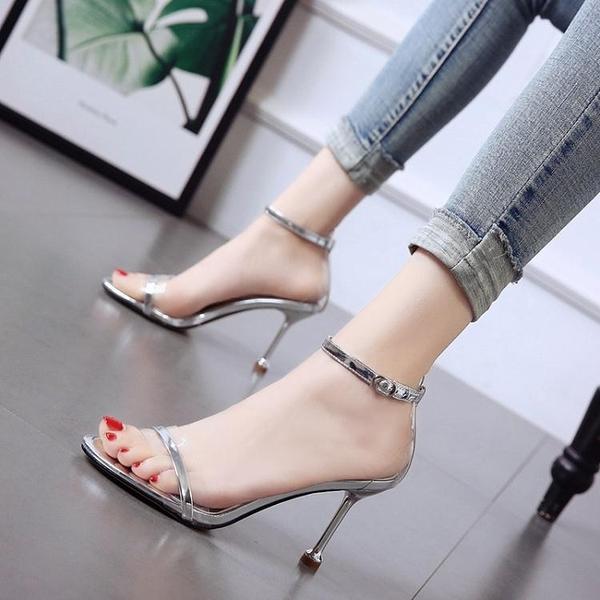新款細跟涼鞋女夏性感一字扣帶百搭透明小清新貓跟女鞋 淇朵市集