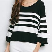現貨-T恤-寬鬆短版撞色條紋七分袖上衣 Kiwi Shop奇異果0810【STC7670】