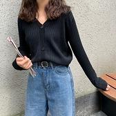 針織開衫毛衣女短款薄款女v領毛衣【少女顏究院】