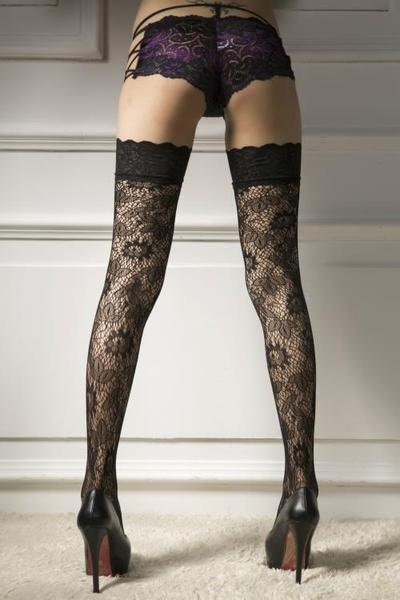 ×網襪×提花絲襪 大花朵蕾絲邊高筒襪 4501_YD