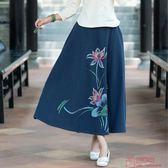 實拍手繪復古印花棉麻大擺裙半身裙長裙