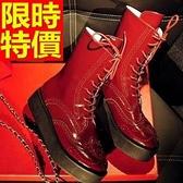 馬丁靴-秋冬歐美前系帶圓頭厚底真皮中筒女靴子2色65d61【巴黎精品】