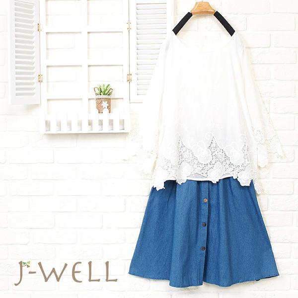 J-WELL 森女棉質下擺綉花上衣裙二件組(組合889 8J1534白F+8J1521中藍F)
