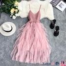 熱賣網紗洋裝 法國小眾連身裙針織V領露背拼接不規則層層網紗蛋糕裙網紅吊帶裙【618 狂歡】