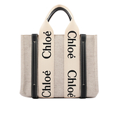 【CHLOE】Woody 帆布拼牛皮托特包(小款)(藍色) CHC21US385E6691J