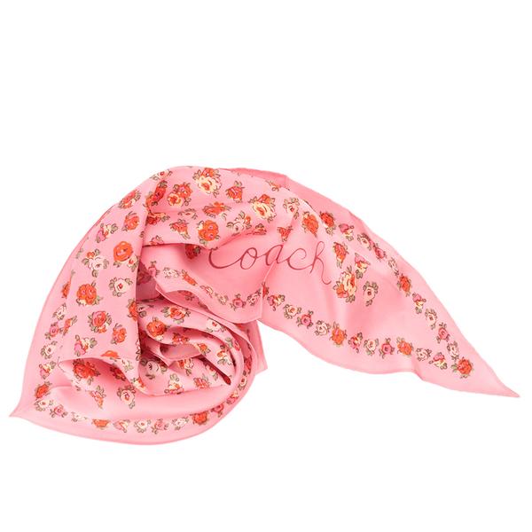 【COACH】茶玫瑰圖案菱形絲巾(泡泡糖粉) 89796 S9M