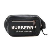 【台中米蘭站】全新品 BURBERRY 品牌logo字母帆布斜背腰包(8014603-黑)