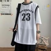 夏季假兩件短袖t恤男ins潮港風街頭嘻哈個性寬鬆潮流外穿籃球球衣 【ifashion·全店免運】