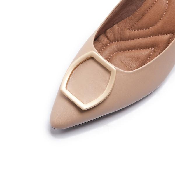 【Fair Lady】芯太軟 真皮壓紋⽅框尖頭高跟鞋 粉