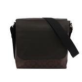 【COACH】PVC LOGO拼皮革翻蓋 斜/側背包(巧克力)F54771 MABR