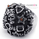 《 QBOX 》FASHION 飾品【R10023034】精緻龐克風寬版骷顱鑲鑽鑄造鈦鋼戒指/戒環