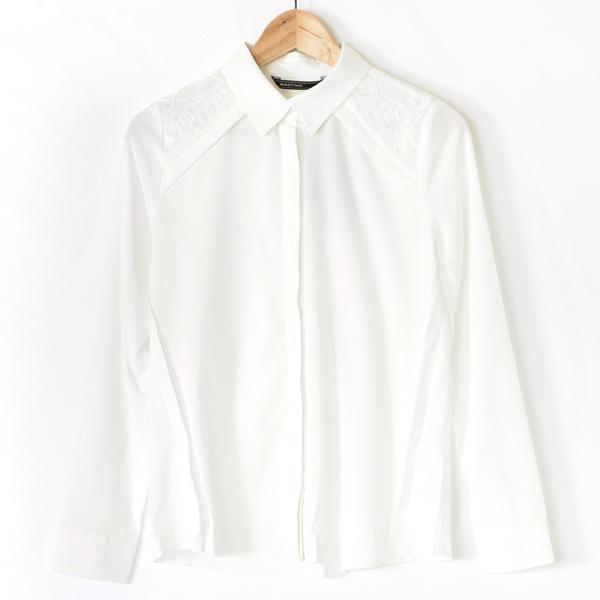 【MASTINA】蕾絲拼接襯衫-白 0331-5
