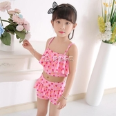 女童泳衣 兒童女孩中大童連體公主平角裙式可愛韓國防曬小孩女童分體游 多色小屋