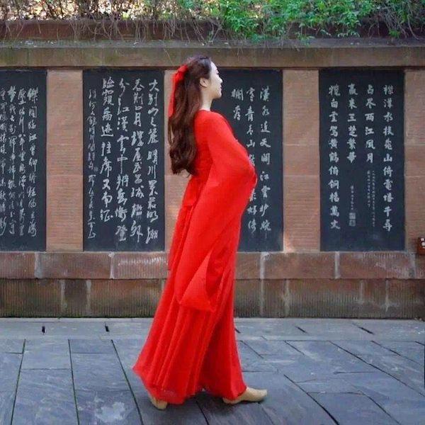 廣袖流仙裙古典舞表演服飄逸古裝唐裝漢服【熊貓本】