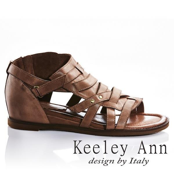 ★2018春夏★Keeley Ann極簡復古~交叉編織風金屬飾釦全真皮微內增高涼鞋(棕色)