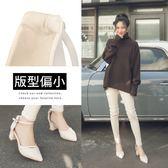 Ann'S柔美心動-造型斜帶顯瘦繞踝粗跟尖頭鞋-白