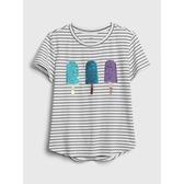 Gap女童棉質舒適圓領短袖T恤546074-海軍藍條紋